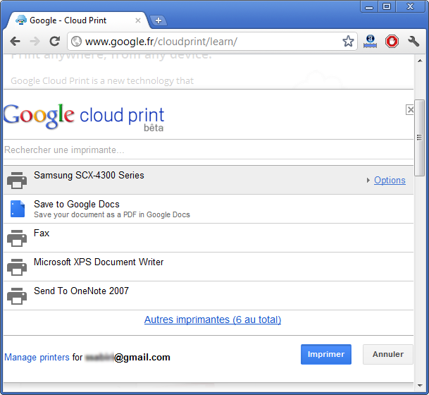 Tutoriel Cloud Print